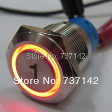 ELEWIND 19mm Ring illuminated push button with laser engraving symbol(PM192F-11E/R/12V/S with '1')(China)