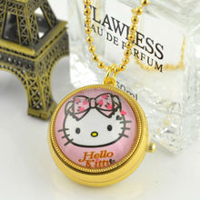 Hot Sell  Middle Size Gold Case Hello Kitty Quartz Fob Pocket Watch Necklace Chain  Women Sweater Chain 100pcs/lot
