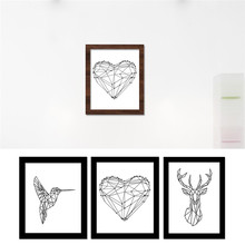 Creative Geometric Woodpecker Canvas Frameless Art Print Painting Poster&Heart Wall Pictures&Dear Head decorative pictures