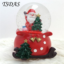 Swivel Crystal Ball Music Box Snowman Hand Cranked Music Boxes Crystal Glass Ball Musical Box Christmas Decor Gift(China)