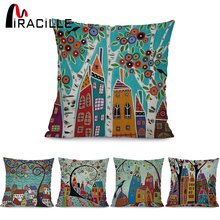 "Miracille Square 18"" Abstract Building and Tree Printed Cartoon Sofa Throw Cushions Living Room Decorative Pillows No Filling(China)"