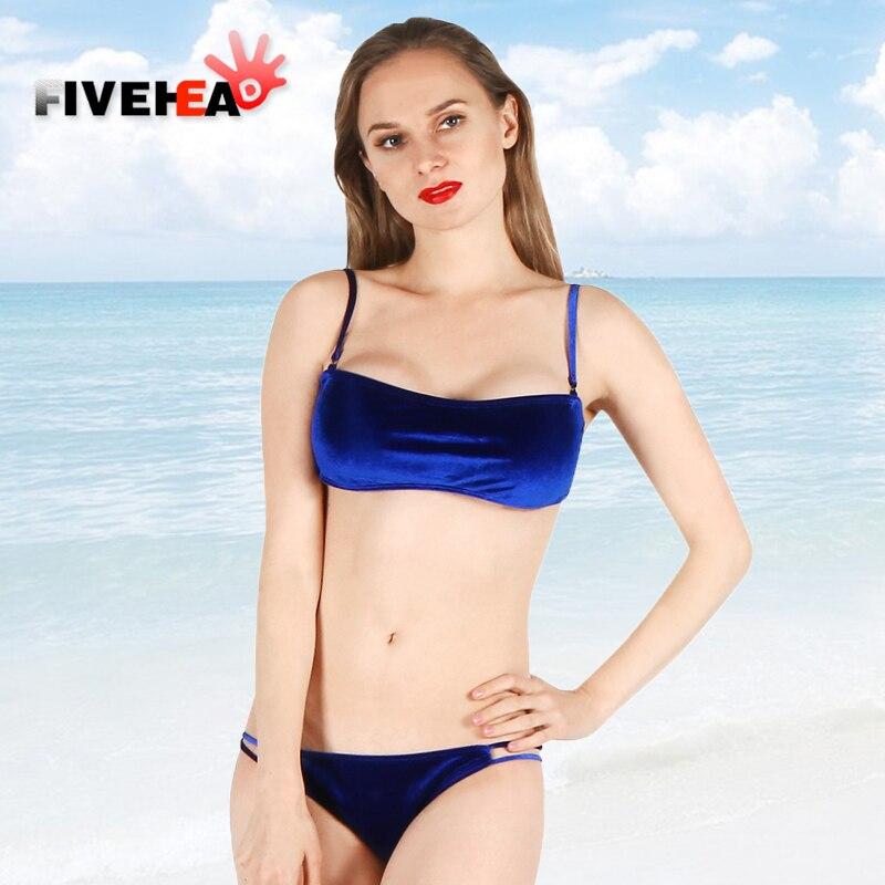 MAMAMIA  women bikini two-pieces velvet damsel thong stylish design royal blue monokini bandage sexy bandeau swimwear wetsuit<br>