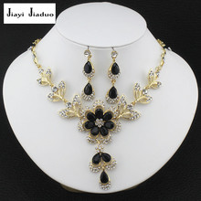 jiayijiaduo  hot African female costume jewelry set for womenGold plated Black Red Golde-color necklace earrings wedding