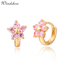 Gold Color Star With Five Pink CZ Flower Huggies Small Hoop Earrings Anti-Allergic Jewelry For Womens Children Girls Baby Kids