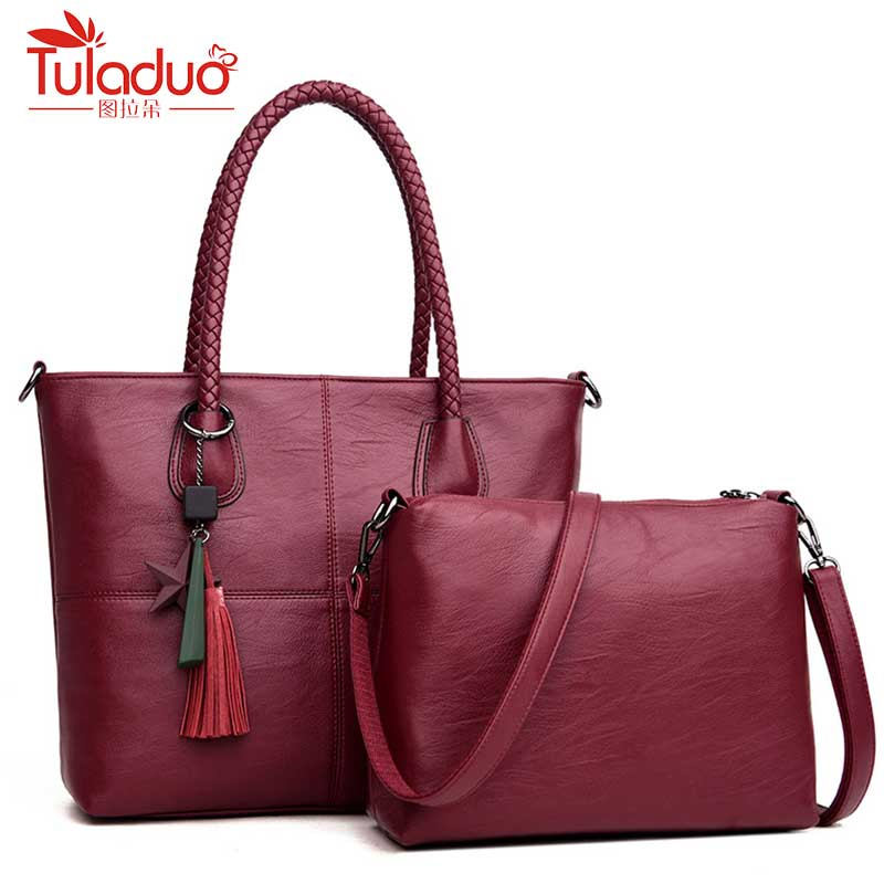 2Pcs Set pu Leather Women Handbags Famous Brand Star Tassel Women Bags Large Capacity Tote Bag Luxury elegant handbag leather<br>
