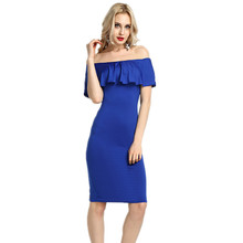 Buy Spring Summer Shoulder Ruffle Bodycon Dresses Women Sexy Dresses Burgundy Butterfly Sleeve Dress Womens Clothing Y0004 for $12.26 in AliExpress store