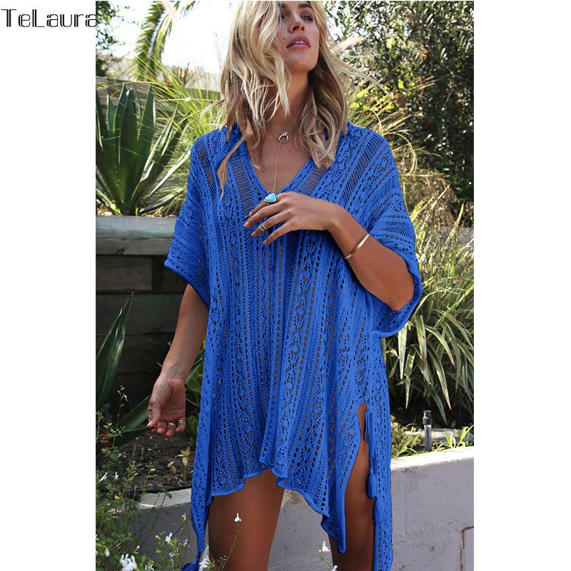 2018 New Beach Cover Up Bikini Crochet Knitted Tassel Tie Beachwear Summer Swimsuit Cover Up Sexy See-through Beach Dress 14