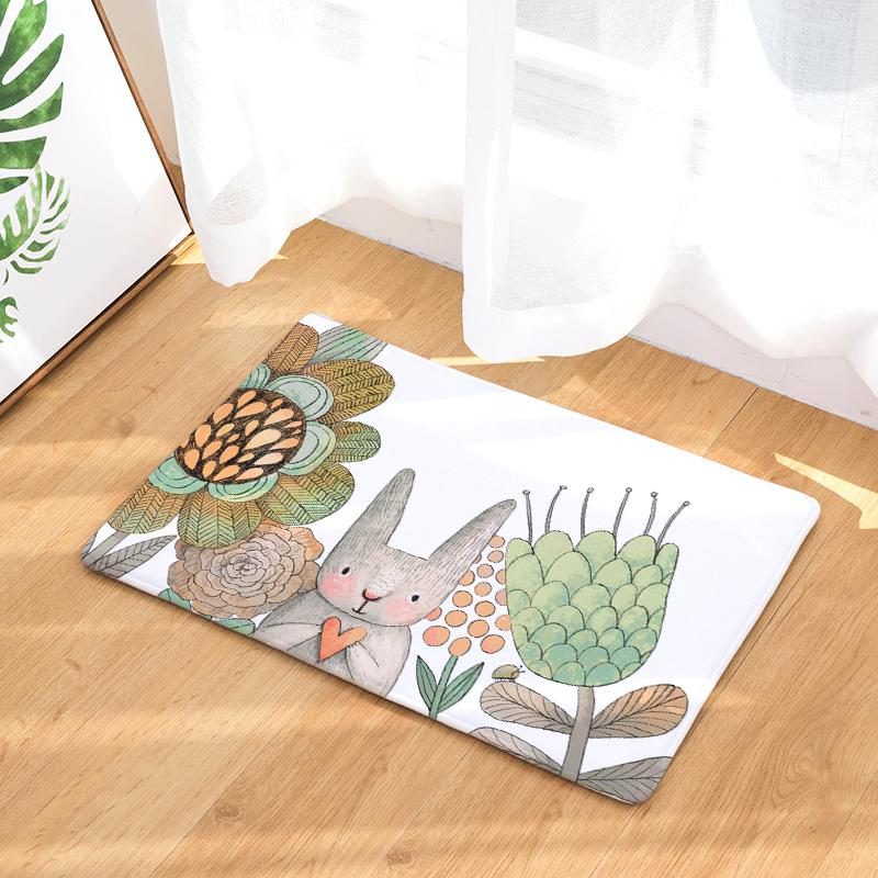Flannel Floor Mats Warm Cartoon Printed Bedroom Living Room Carpets Cartoon  Pattern Mat For Hallway Anti Slip Tapete   Us148