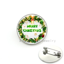 Christmas jewelry brooches handmade glass cabochon Xmas Garland picture plated silver brooch pins badge women New Year gift CM99