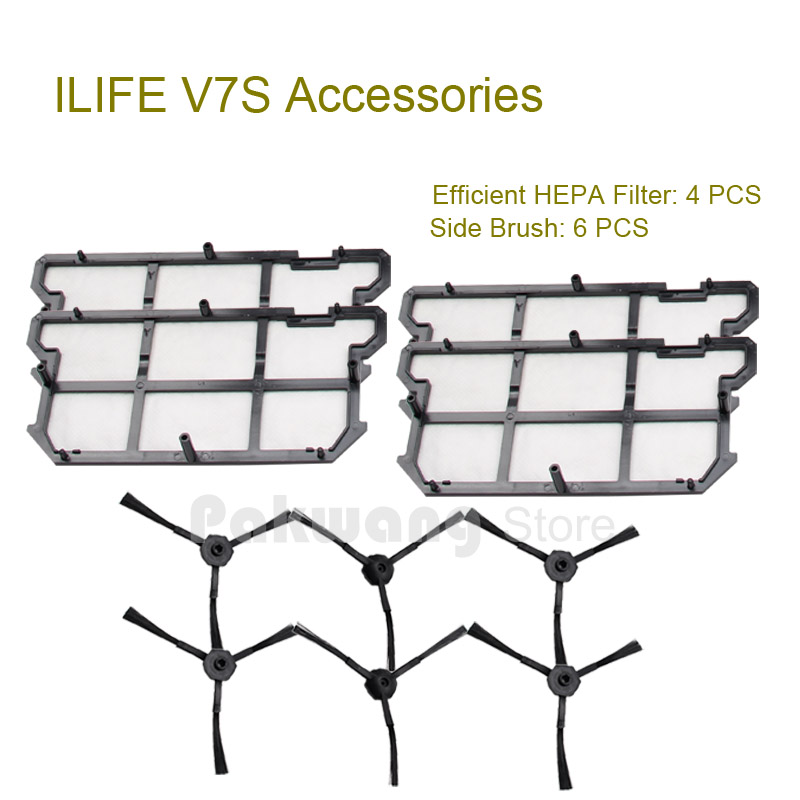 ILIFE V7S Efficient HEPA Filter 4 pcs and Side brush 6 pcs of Original ILIFE V7S Robot Vacuum Cleaner Spare parts<br>