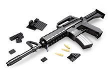 524pcs M16 Assault rifle GUN Weapon Arms Model 1:1 3D Model Brick Gun Building Block Set Toy Gift For Children Block Guns