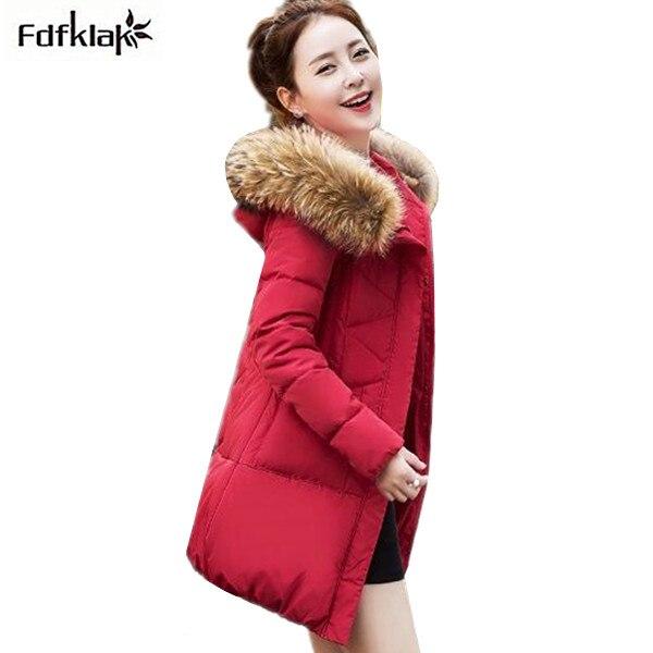 M-3XL Womens Winter Jackets And Coats Warm Hooded Down Cotton Padded Parkas For Womens Winter Jacket Female Black/White E0679 Îäåæäà è àêñåññóàðû<br><br>