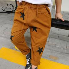 YAUAMDB kids long pants 2017 winter autumn 3-8Y boys star print trousers children pocket casual clothes solid clothing Y29(China)