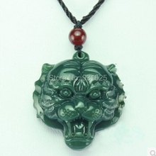 100% Natural Hand-carved Chinese Hetian Jade Pendant - Tiger head Green Jade Pendants Necklace wholesale
