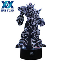 HUI YUAN Transformers 3D Lamp Remote Control 7 Colors Illusion Night Lights 3D LED Desk Table Lamp Home Decoration For Gifts(China)