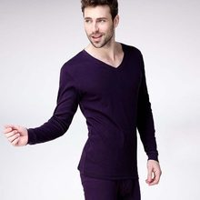 Warm Clothing - New Arrival Men 's V - Neck Cotton Underwear Thermal Underwear Set Based On Solid Color Thin Section #1828109