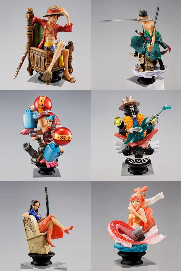 6Pcs/set Japanese Anime One Piece Brook Shirahosh Luffy Franky Robin Zoro 8-11cm PVC Action Figure Collection Model Toys Gifts<br><br>Aliexpress