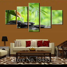5 Panels Modern Bamboo  Spa Stone Canvas Print Painting Artwork Wall Art Canvas painting For Home Decor