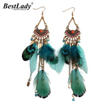 Best lady 2016 Long Tassel Fashion Feather Style Ethnic Boho Big Dangle Statement Earring Wedding Earrings Accessories 3494(China)