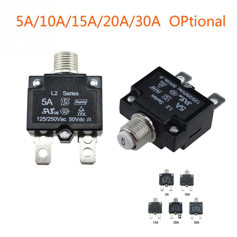 12//24V Push Button Resettable Thermal Circuit Breaker Panel Mount Caps 5-30 AMP