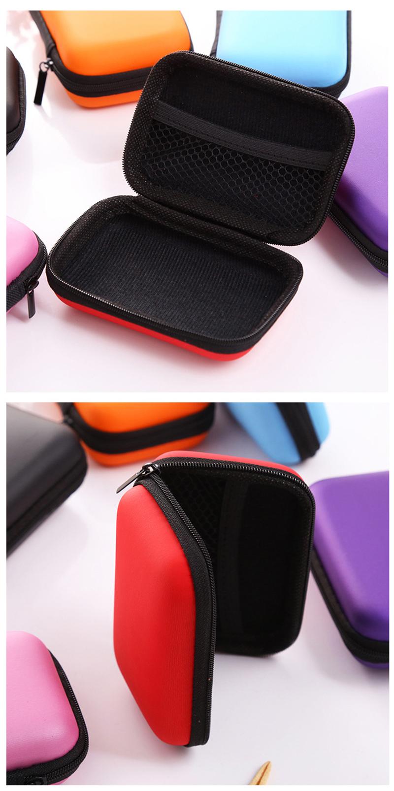 prativerdi Zippered Lock Hard Earphone Case EVA Leather Headphone Storage Bag Protective Usb Cable Portable travel Organizer3