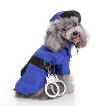 Cool Halloween pet cat dog police costume cosplay with dog police hat small dog puppy party uniform suit jacket cloth #(China)