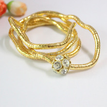 Newest 5MM 90CM Pure Gold And Copper With Rhinestone Beads Bendable Flexible Snake Necklace,10pcs/pack(China)