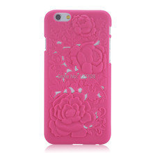 3D PC Sculpture Rose Flower Carving Cell Phones Hard Case for Apple iPhone 6 6S 6G 4.7inch Engraved Hollow Back Cover 10pcs/lot()