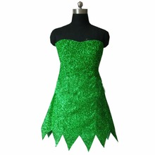 2017 Princess Tinkerbell Dress Sexy Fancy Movie Cosplay Green Fairy Pixie Adult Dresses Summer Anime Tinker Bell Dress(China)