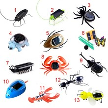Fashion Children Toys Plastic Solar Power Ant Cockroach Spider Tortoise Crab Butterfly Insect Teaching Baby Kid Toy Gift BM88(China)