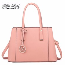 Miss Lulu Women Shoulder Handbags Multi Compartments Top-handle Bags Pink Tote Bag PU Leather Cross Body Messenger Bags LT1748(China)