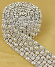 1 Yard Diamond 5 Rows 5mm A Grade Rhinestone Crystal & Pearl Wedding Cake Banding Trim Cake Ribbon Decoration