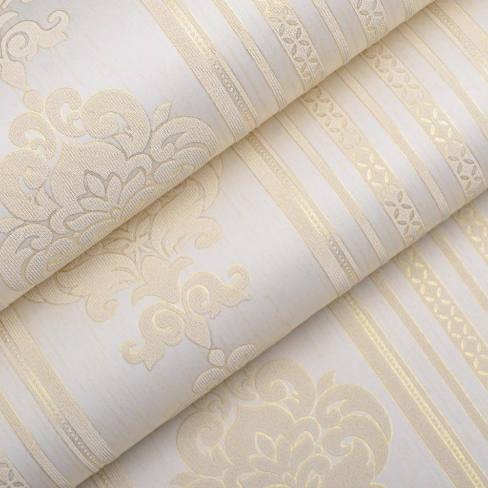 Luxury Modern Designer Cream/Beige Embossed Damask Striped Wallpaper For Bedroom<br><br>Aliexpress