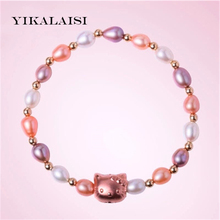YIKALAISI 2017 Charm Bracelet Pearl Jewelry Natural  Pearl Hello Kitty Bracelet 925 Sterling Silver Jewelry Bracelet For Women