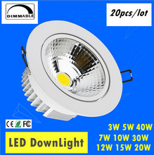 20pcs/lot AC85-265V 3W 5W 7W 10W 12W 15W 20W 30W 40W Spot LED DownLight Dimmable LED COB Spot Recessed Down light Downlights(China)