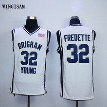 WINGISAM Jimmer Fredette #32 Brigham Young Retro Throwback Stitched College Basketball Jersey Embroidery Logos