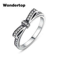 Wondertop Original 925 Sterling Silver Bow Knot Ring Paved with Micro CZ for Women Wedding/Engagement Fashion Jewelry Size 6-8(China)