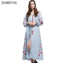 Runway Dress 2017 New Women Embroidery Long Maxi Dress Vintage Ethnic Style  Long Sleeve Lace Up Loose Beach Summer Dress Vestido c9d6a9d960bd