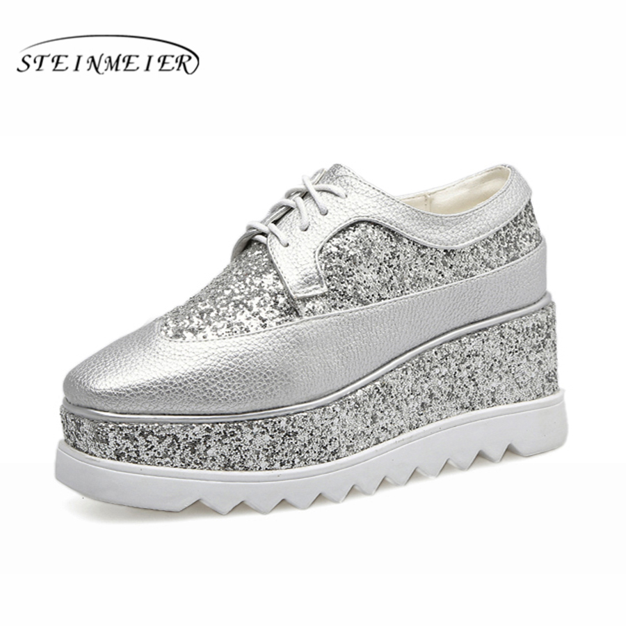 2018 women platform casual oxford leather shoes creepers thick heel 8CM silver leisure lace up square head muffin student shoes<br>