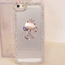 3D Bling Rhinestone Crown Cat Bow Chain Phone Cover for Samsung A8 S4 S5 mini S6 S7 Edge Note 3 4 5 iPhone 4s 5S 5C 6S 7 Plus