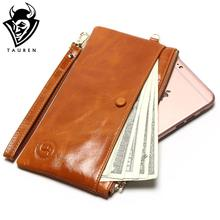 Mobile Phone Packet 7 Color Women's Slim Wallets Oil Wax Leather Thin Handbag Leather Simple Leather Hand Grasping Coin Purse(China)