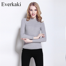 Everkaki 2017 Spring Fashion Women sweater high elastic Solid Cashmere christmas Sweater Women Turtleneck Lady Knitwear Pullover