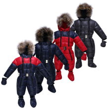 Fashion New 2016 Baby Winter Thermal Overalls,Brand Warm Jumpsuit, Baby Girs Boys Clothes Snow Wear Down Jacket Baby Romper(China)