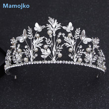 Mamojko Baroque Tree Butterfly Forest Bridal Crowns Imitation Pearl Tiaras For Woman Noble Wedding Jewelry Hair Accessories H(China)