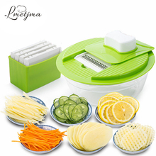 LMETJMA Mandoline Vegetable Slicer Dicer Fruit Cutter Slicer With 4 Interchangeable Stainless Steel Blades Potato Slicer Tool(China)