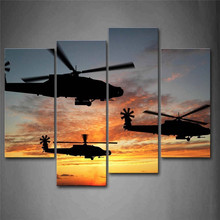 Sale Modern Pictures On The Wall New Helicopters Fly In Sky Sunset Glow Wall Art Painting On Canvas Aircraft Decoration For Home(China)