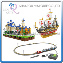 Mini Qute LOZ world architecture war ship Santa Maria Electronic high-speed rail Train plastic building blocks educational toy