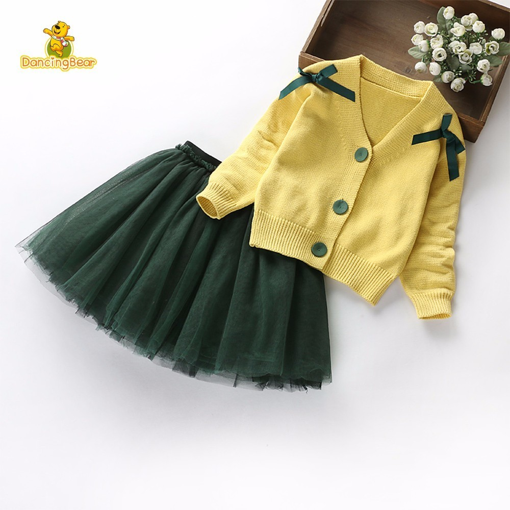 DancingBear Children Dress Girl Long Sleeve Princess Skirt Suit Child Childrens Garment Set Sweater Yarn Skirt Autumn 2Pcs<br>
