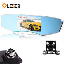 "5"" inch dual lens recorder video registrator dash cam full hd1080p night vision car camera rearview mirror auto dvrs cars dvr"