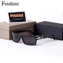 FEISHINI High Quality TAC Polarized Sunglasses Men Rectangle Driving Black Real color Classic COOL Glasses Women Vintage UV400(China)